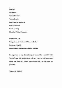 2009 2011 Toyota Venza Service Repair Manual Download  2009 2010 2011