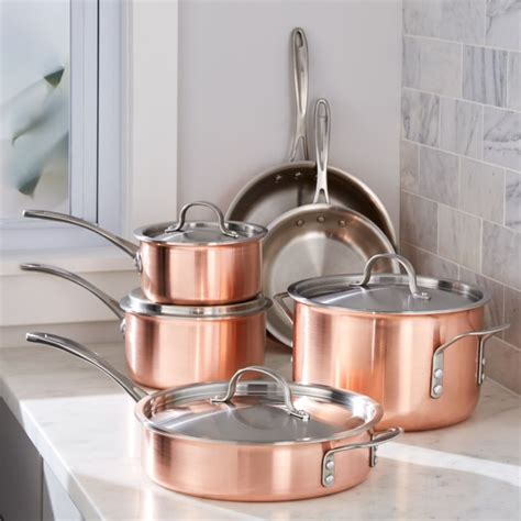 calphalon tri ply copper  piece cookware set reviews crate  barrel