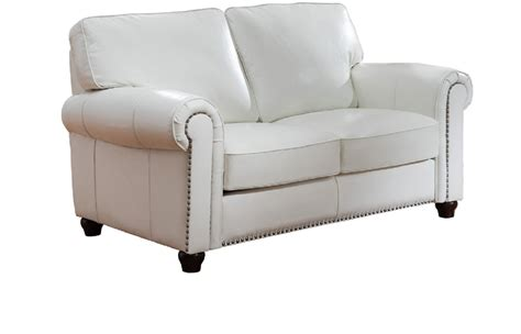 White Leather Loveseat by Barbara Top Grain Ivory White Leather Loveseat Usa