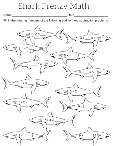 Printable Shark Frenzy Math Worksheet  Miniature Masterminds