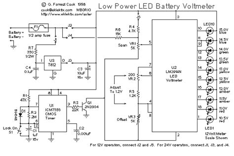 Low Power Led Voltmeter Electronic Circuit Collection