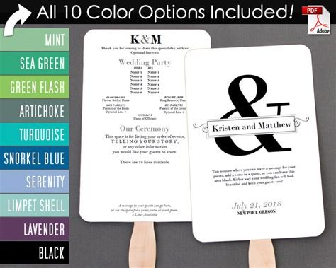 ampersand  text box wedding program fan cool colors