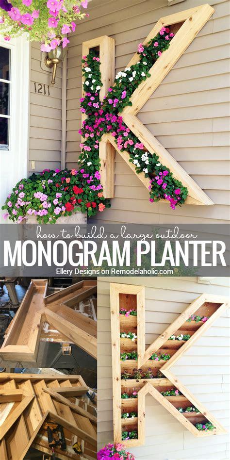 diy outdoor decorations remodelaholic diy monogram planter tutorial