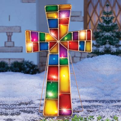 17 inch lighted church scene with colorful rice lights lighted stained glass cross stake from collections etc