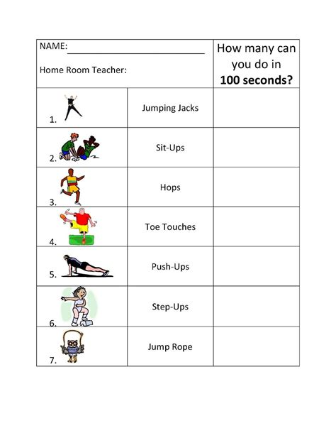 100 Second Challenge | Elementary physical education ...
