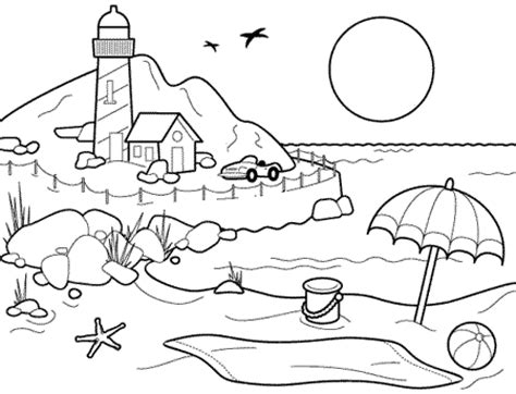 beach coloring pages beach scenes activities color