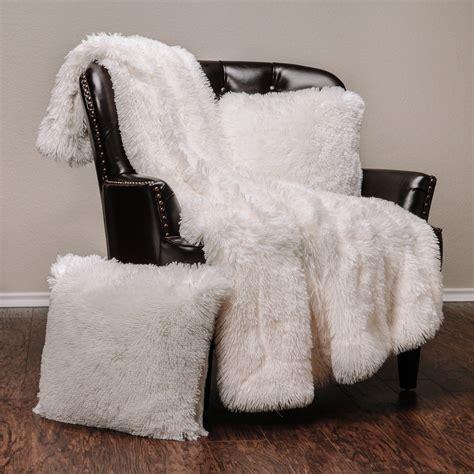 chanasya  piece super soft shaggy throw blanket pillow cover set chic fuzzy faux fur elegant