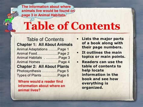 table of contents definition text features powerpoint