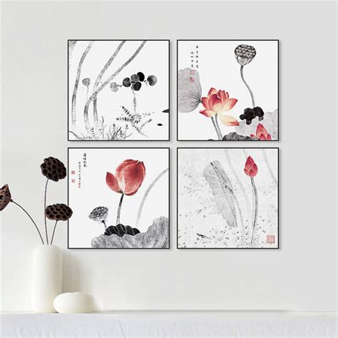 modern minimalist chinese lotus flower ink painting