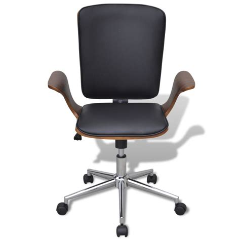bent wood faux leather office chair black walnut buy