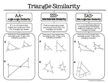 triangle similarity aa sss and sas graphic organizer tpt