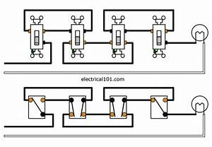 4 way switches electrical 101 With 4 way switch setup