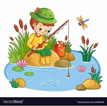Pond Fish Boy Vector Rock Cartoon Sits