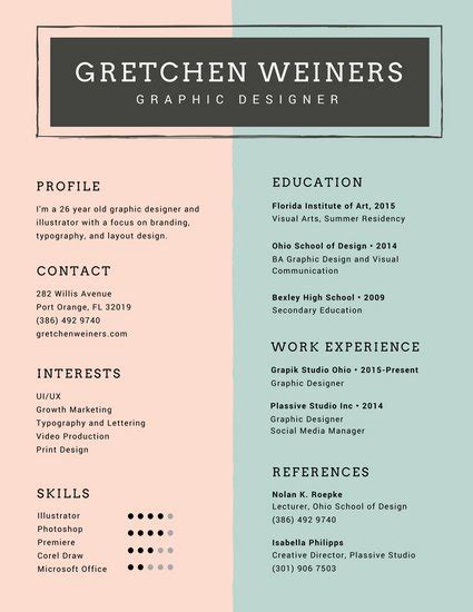Resume Layout Design by Customize 979 Resume Templates Canva