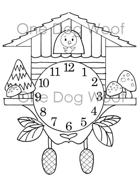 create   cuckoo clock digital print coloring page
