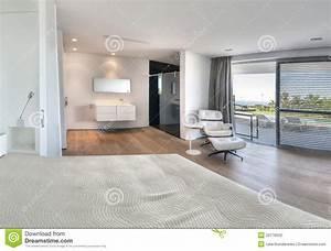 chambre a coucher blanche moderne avec la salle de bains With salle de bain dans chambre a coucher