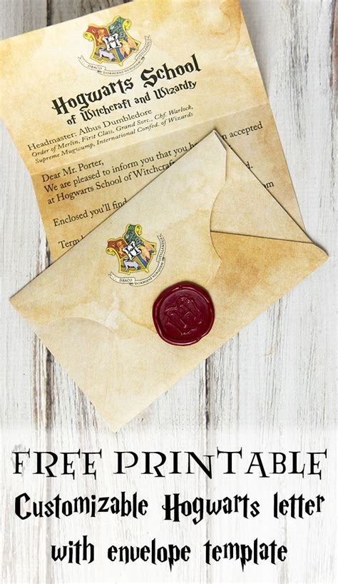 printable customizable hogwarts letter  envelope