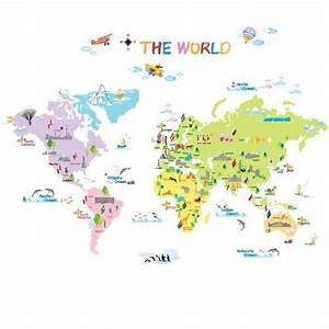 world map stickers for walls home design With best brand of paint for kitchen cabinets with world map sticker wall art