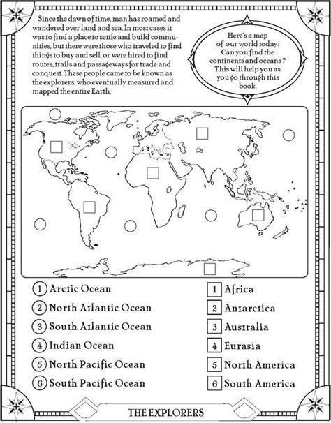 find the oceans and continents page free printable elementary social studies geography fun