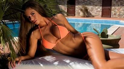 Brunette Isabelle Swimsuit Pink Bikini Wallhere Cc