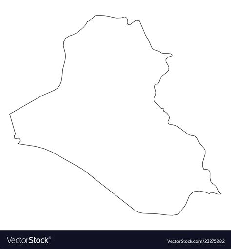Iraq Solid Black Outline Border Map Of Country Vector Image