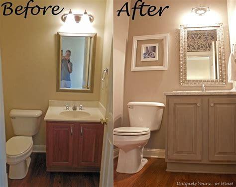 gray powder room update pier mirror