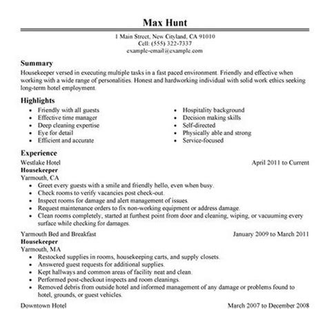 Hospital Housekeeping Description For Resume by Resume Housekeeping Resume Sles Housekeeping