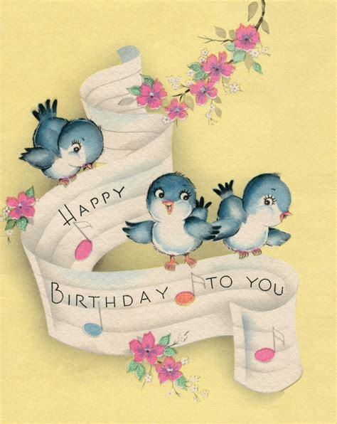 happy birthday bluebirds vintage card happy birthday cards
