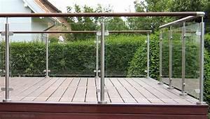 Raekvaerkterrassegelaender i rustfrit stal og glas til for Geländer terrasse