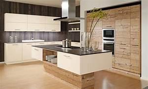 awesome cuisine beige et bois contemporary design trends With deco cuisine avec chaise design noir