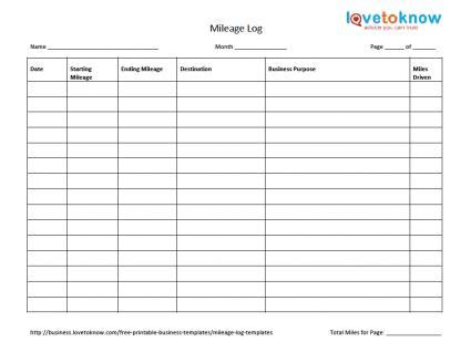 mileage template mileage log templates lovetoknow