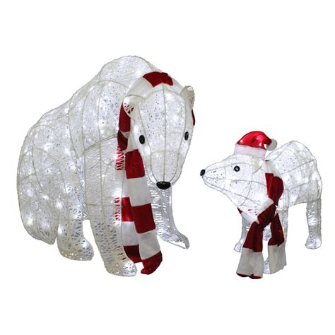 lowes lighted christmas decorations holiday living 2 piece twinkling polar bear outdoor
