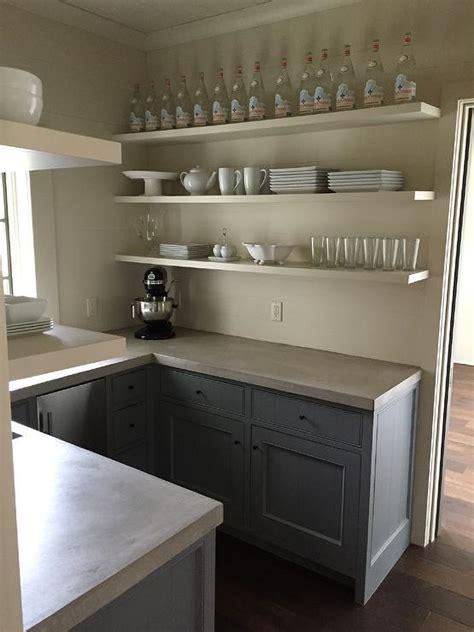 gray cabinets  concrete countertops transitional