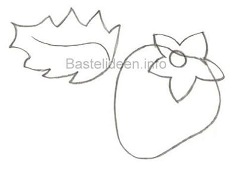 bastelideeninfo bastelvorlage erdbeer und blatt