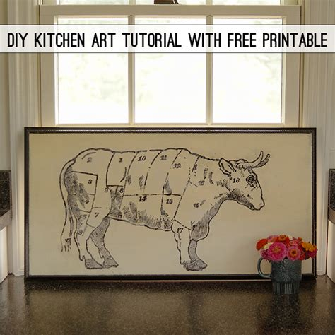 diy butchers chart  vintage kitchen art   graphic