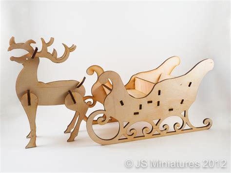 rudolph santas sleigh kit laser cut  wooden model