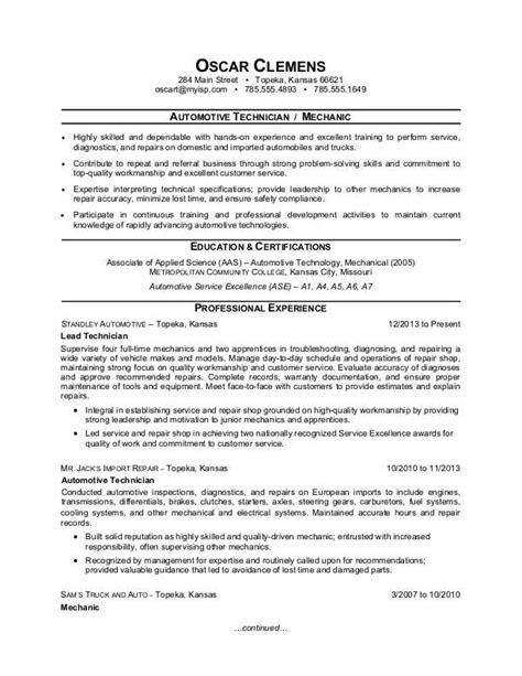 Automotive Resumes by Mechanic Resume Template Resume Ideas