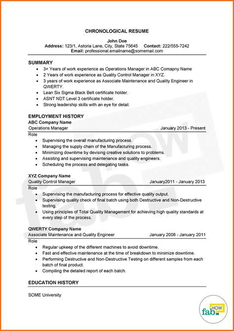Chronological Resume Format Download Elegant Reverse
