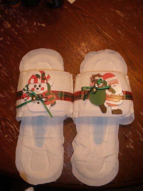 maxi pad slipperswhite elephant  gag gift crafty