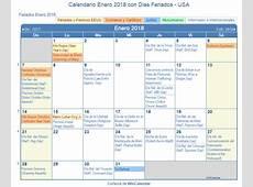 Calendario Enero 2018 para imprimir Estados Unidos