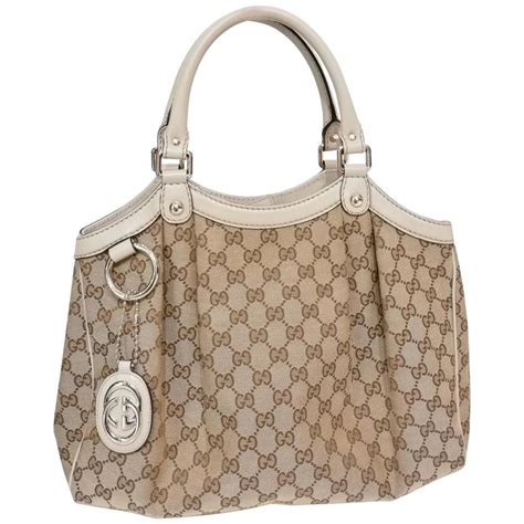 gucci monogram white leather bag  stdibs