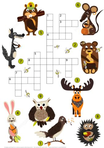 wild animals crossword puzzle  studying english
