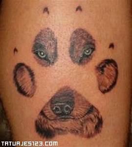 Huella y rostro de perro Tatuajes 123