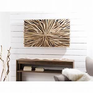 Tableau En Bois Décoration : d coration murale en teck bois flott mod le n 16 120x70x12cm polo ~ Teatrodelosmanantiales.com Idées de Décoration