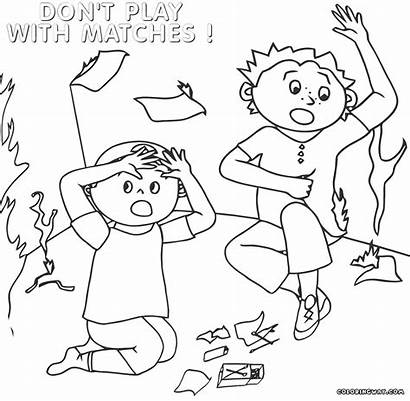 Fire Coloring Safety Pages Matches Drawing Sheets