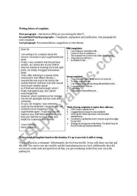 Letters of complaint - ESL worksheet by perico27