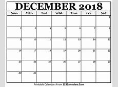 Printable December 2018 Calendar Templates 123CalendarsCom