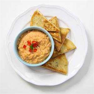 Pita Chips with Roasted Red Pepper Hummus | Chef Julie Yoon