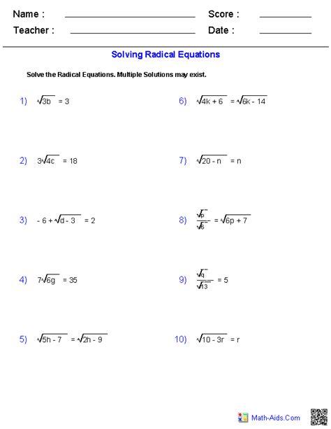 solving radical equations worksheets math aids com