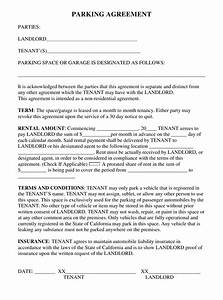 California Parking Agreement Template Download Fillable